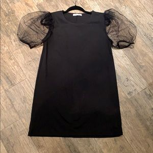 Zara Mesh Sleeved Black Mini Dress